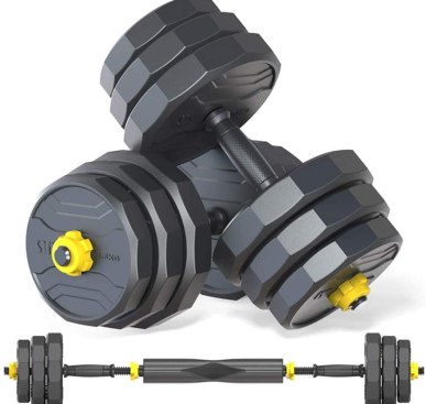 Deliny Adjustable Dumbbells Weight Set, Weights Dumbbells Set with Connecting Rod can be Used as Barbells