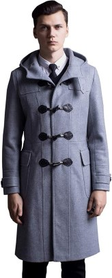 Flygo Men's Wool Blend Classic Duffle Coat Full Length Topcoat