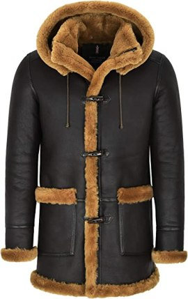Men's Leather Sheepskin Duffle Coat Brown Ginger Fur Hooded