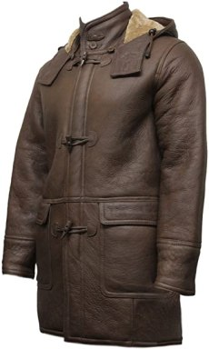 Mens Real Shearling Sheepskin Leather Duffle Coat Brown Warm Winter