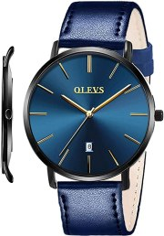 OLEVS Mens Watches Minimalist Ultra Thin Fashion Casual Analog Quartz Date Watch Waterproof Slim Simple Big Face Dress Wrist Watch with Retro Leather Band for Men