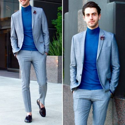 Turtleneck with Dress Shoes, Blazer and Trouser mens outfit