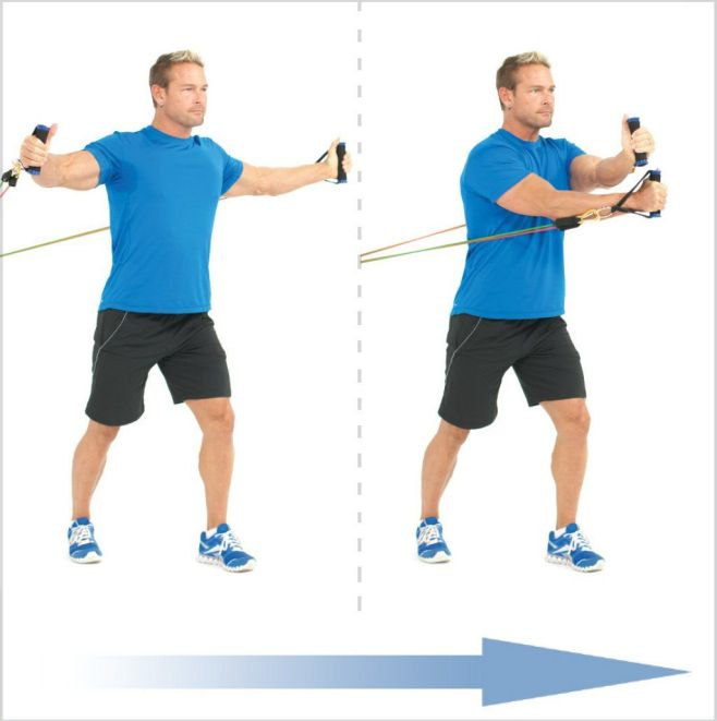 crossover chest fly chest resistance band exercise for bigger chest