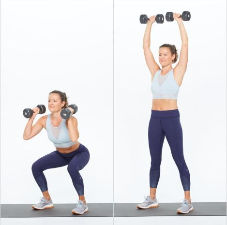 dumbbell squat and press high intensity exercise for fat loss