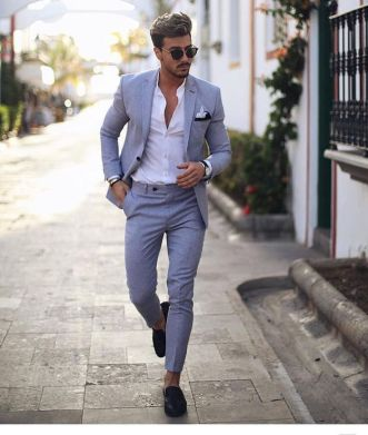 handsome man walking footpath slim casual terndy suit outfit