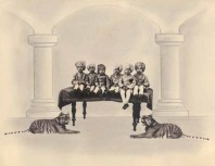 Painted photograph of royal children posing with tiger cubs, c. 1920