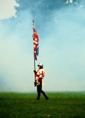 A lone standard bearer stands in the cannon-smoke after the Battle of Tewkesbury