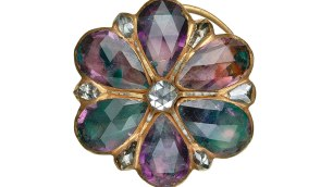A jewelled ring in the shape of a flower