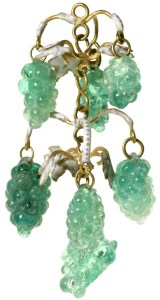 A pendant of emerald clusters in the shape of bunches of grapes