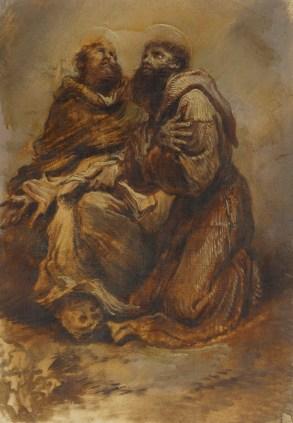 Giovanni Benedetto Castiglione, Two Franciscan saints, oil on paper