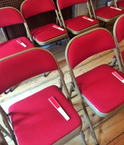 Fans on chairs in the Rehearsal Room for the Trials & Triumphs of Love recital