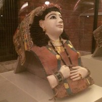A plaster mummy mask of a lady from Roman Egypt, 1st century AD, Neues Museum, Berlin