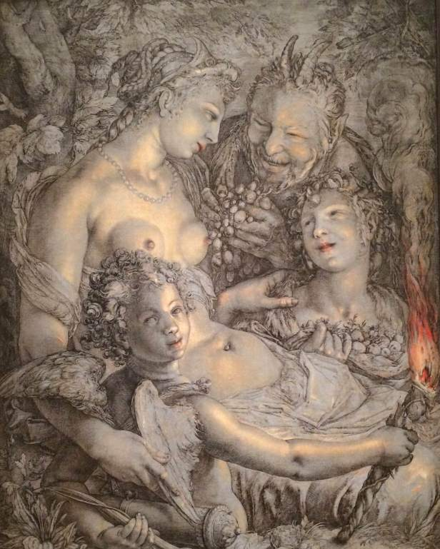 Hendrick Goltzius, Without Ceres and Bacchus, Venus will Freeze, c. 1602, ink and oil paint on canvas, Philadelphia Museum of Art