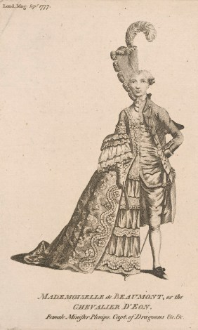 Satirical print on the Chevalier d'Eon, dressed half as a woman and half as a man. Published 1 September 1777 in the London Magazine.