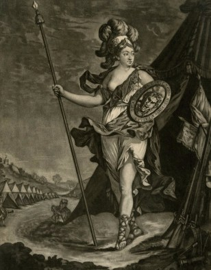 Allegorical portrait of the Chevalier d'Eon as Pallas. Published by S. Hooper, 20 March 1773.