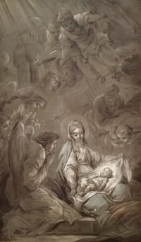 Carle Van Loo, The Adoration of the Angels, 1750-51, Musée des Beaux-Arts, Brest (preparatory sketch; prèmiere pensée)