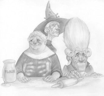 Paul Kidby, Nanny Ogg, Granny Weatherwax and Casanunda © Paul Kidby