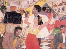 """""""Beale Street Blues"""" (1943) by Palmer C. Hayden, oil on canvas 30 x 40 in. [Palmer C. Hayden Collection at the Museum of African American Art in LA.]"""