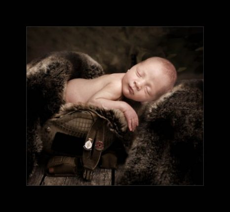 Baby photography glasgow newborn baby in army helmet