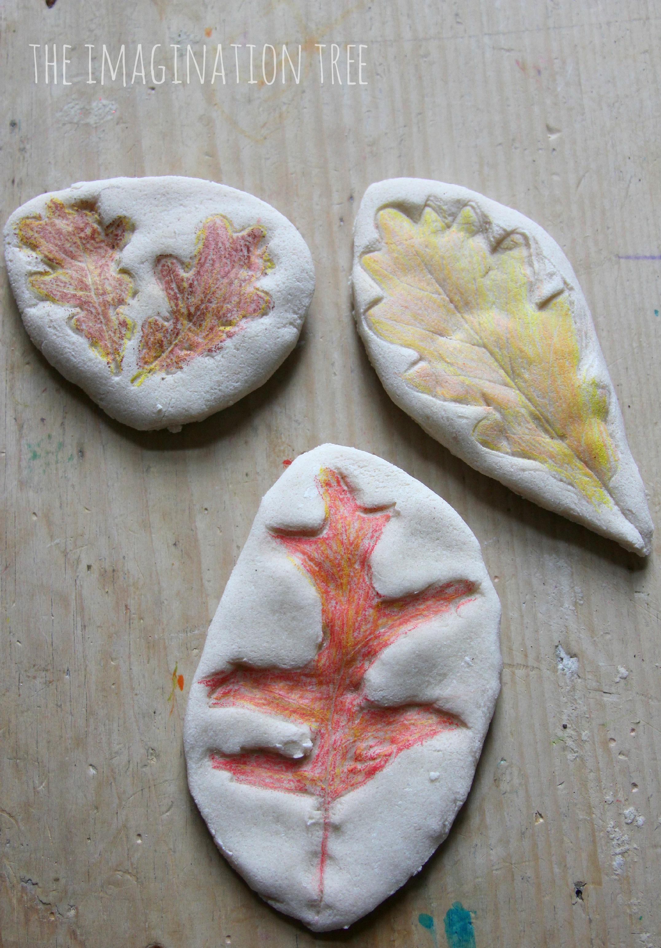 Coloured Salt Dough Leaf Impressions
