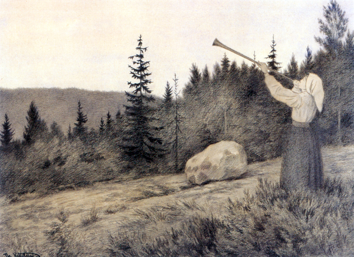 Coastal Landscape  by Theodor Kittelsen   Giclee Canvas Print Repro
