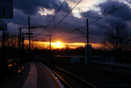 sunlight on train station