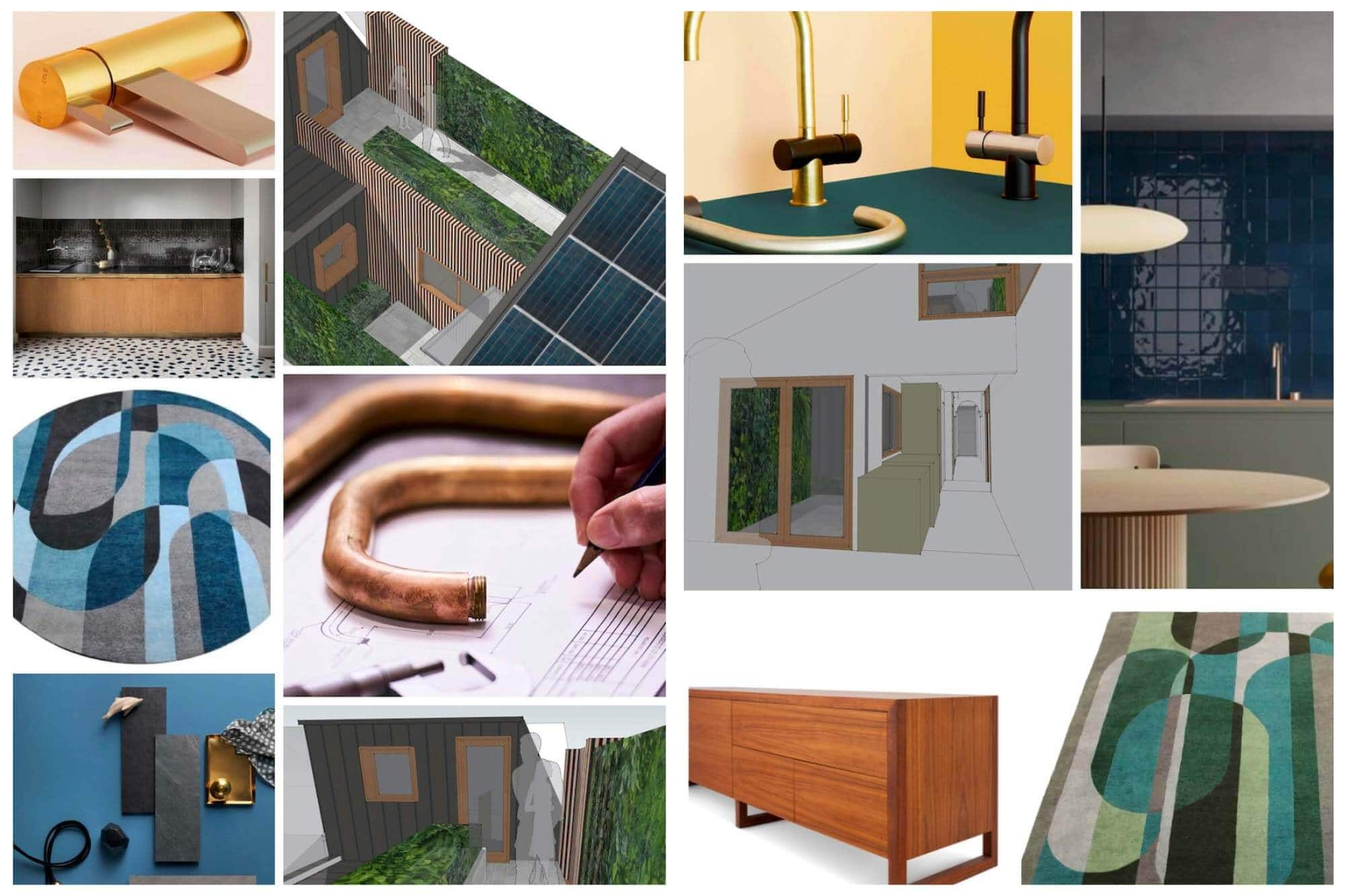 Denby Dowling's mood board of beautiful and affordable interior design for Laura's sustainable home.
