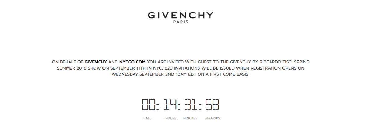 Givenchy countdown clock