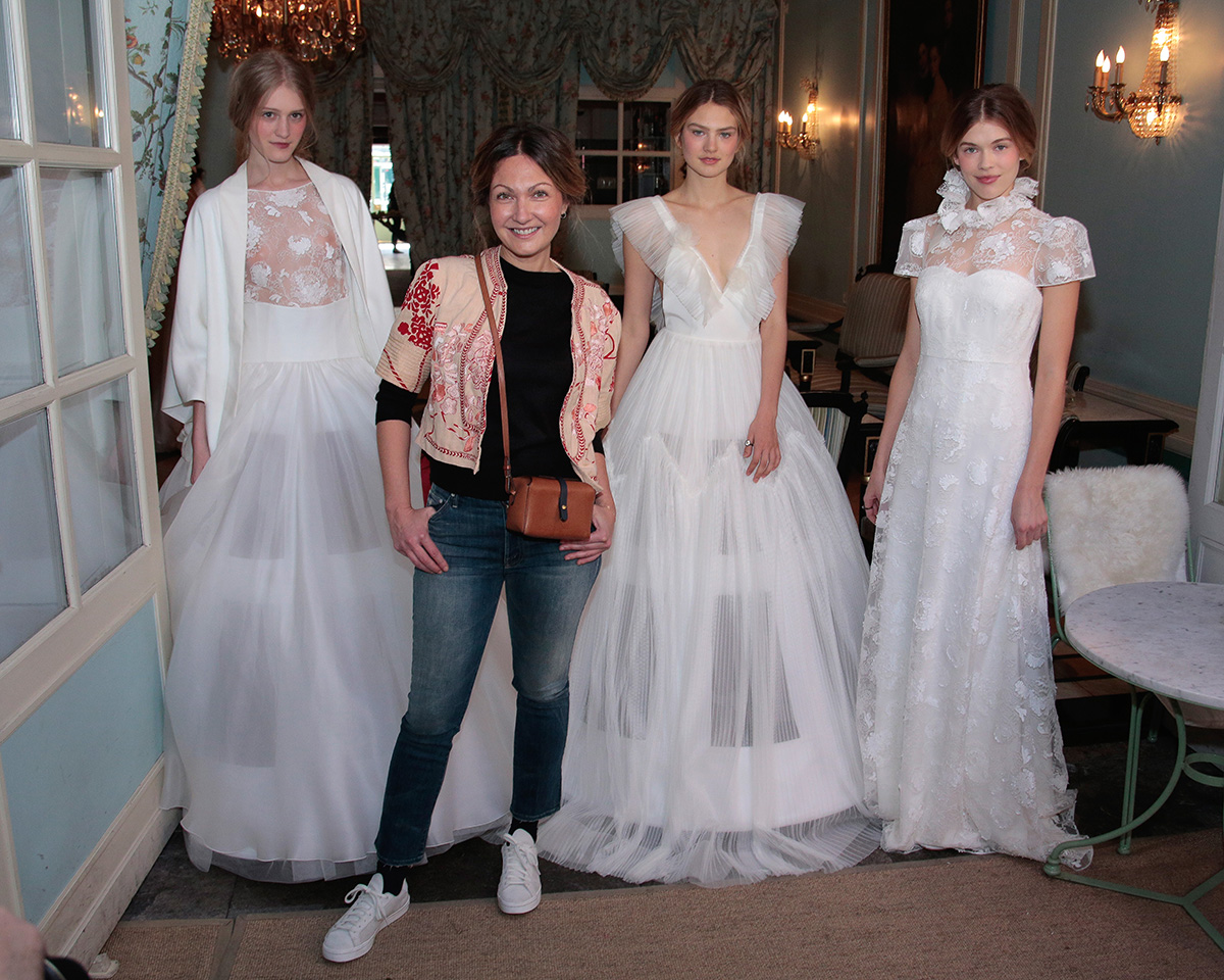 NEW YORK, NY - APRIL 18: Models pose with Delphine Manivet (2nd left) during her Delphine Manivet Spring Summer 2017 Bridal Presentation on April 18, 2016 in New York City. (Photo by Randy Brooke/Getty Images for Delphine Manivet)