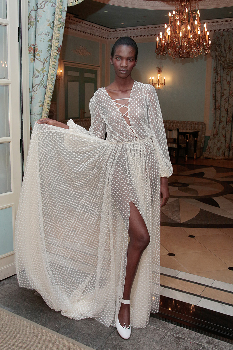 NEW YORK, NY - APRIL 18: A model poses during the Delphine Manivet Spring Summer 2017 Bridal Presentation on April 18, 2016 in New York City. (Photo by Randy Brooke/Getty Images for Delphine Manivet)