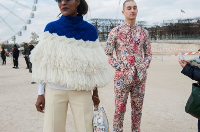 Michelle Elie and friend outside of Valentino