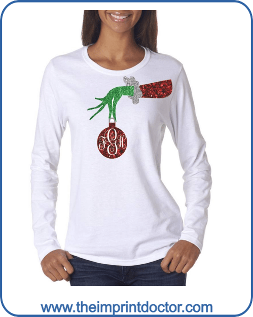 Monogrammed Grinch Long Sleeve T Shirt