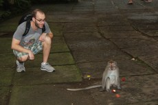 Sam with Monkey, Monkey Forest, Ubud, Bali