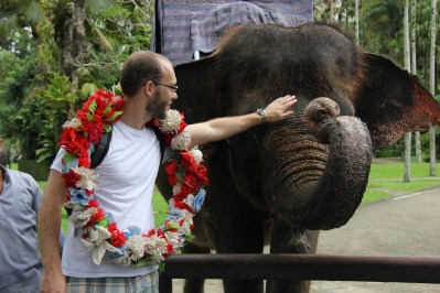Sam and Elephant, Elephant Safari Park, Bali, Indonesia