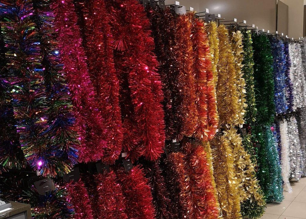 John Lewis Christmas Shop, rainbow tinsel