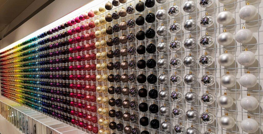 John Lewis Christmas Shop, rainbow baubles