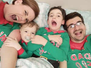 matching family christmas payjamas, elf pyjamas, mummy elf, daddy elf, big brother elf