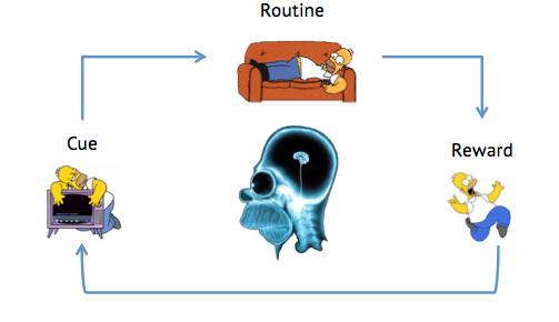 Image showing Homer Simpsons routine - cue - routine - reward