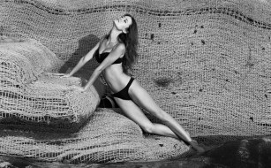 Summer Glau bikini black and white