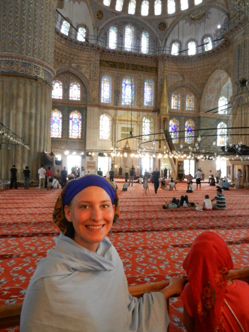 Ashleigh in the Blue Mosque, Istanbul., Turkey
