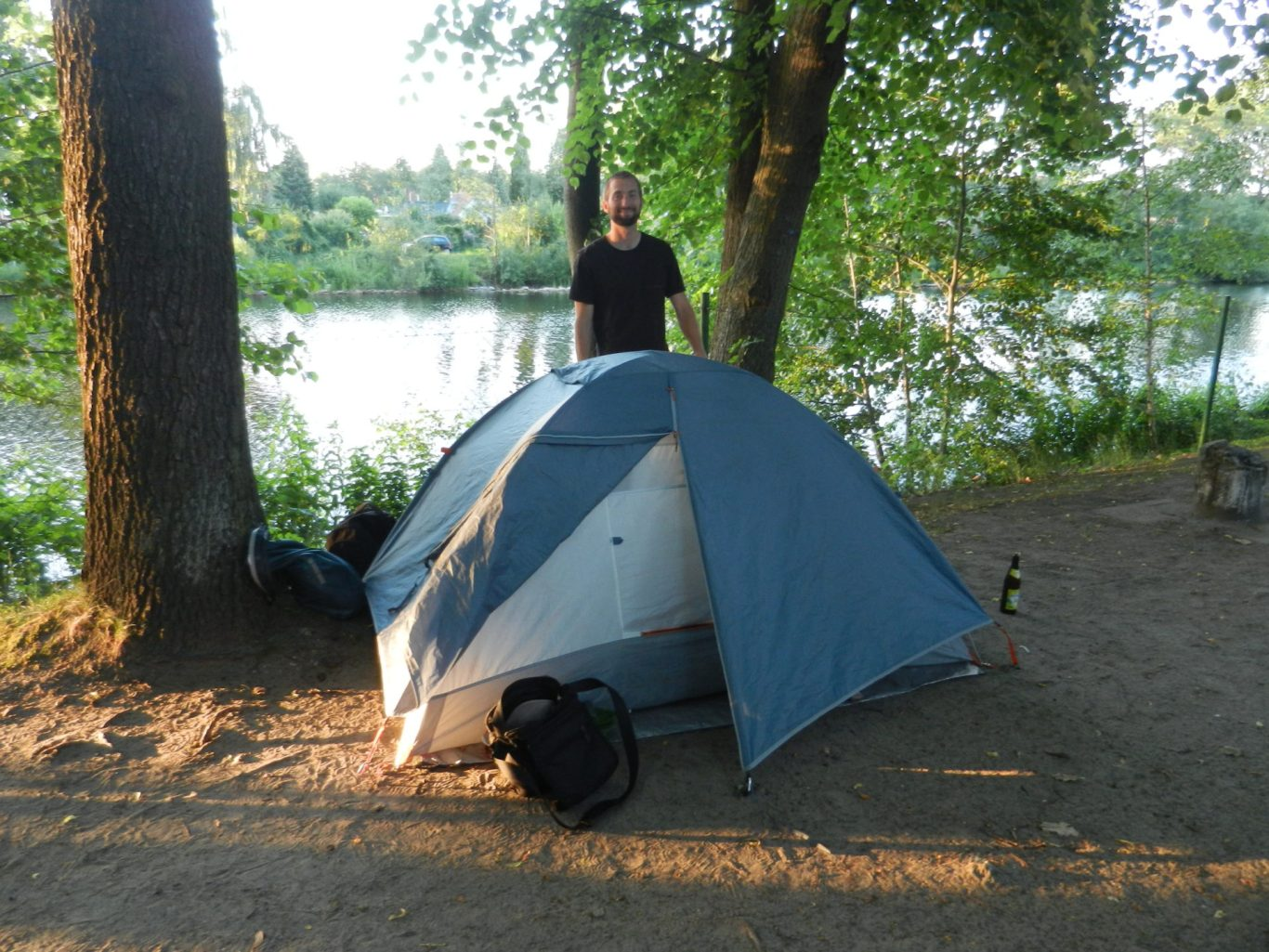 Nathanael with our tent in Berlin, Germany