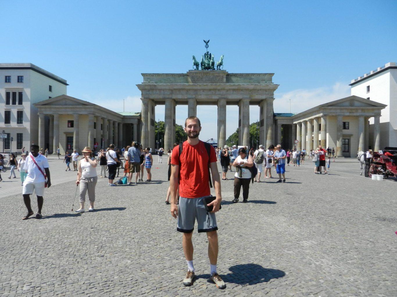 Nathanael in front of Brandenburg Gate in Berlin, Germany