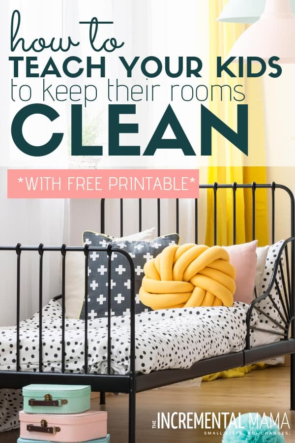 Keep your kid's room clean with these 7 tips that teach your children to tidy their rooms by themselves. Plus, free printable drawer labels to avoid clutter keep your child's room clean! #keepkidsroomcleantips #keepkidsroomclean #getkidstocleantheiroom #raiseindependentkids