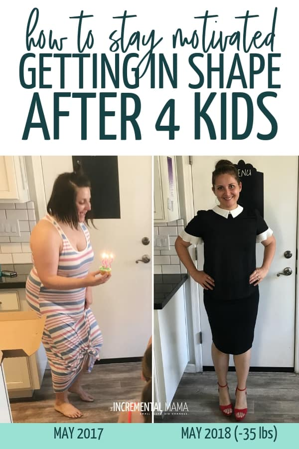 Getting in shape after having a baby is tough. And after 4 back-to-back pregnancies, losing weight and getting in shape felt impossible. Here's how I kept the motivation to hit the gym every week and gain greater health so I could lose 35 lbs. #gettinginshapeafterbaby #weightlossmotivation #losingweightafterpregnancy #beforeandafter #staymotivated
