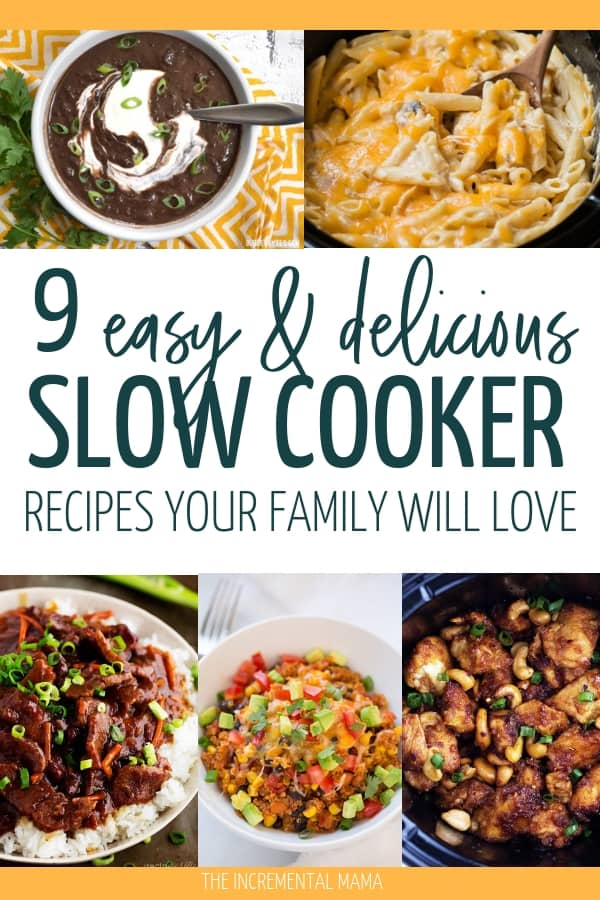 Here's 9 Easy Slow Cooker Recipes that even picky eaters will love. These easy crockpot meals are easy and kids love them. Numer 3 is our family favorite! #easyslowcookerrecipes #crockpotmeals #forpickyeaters