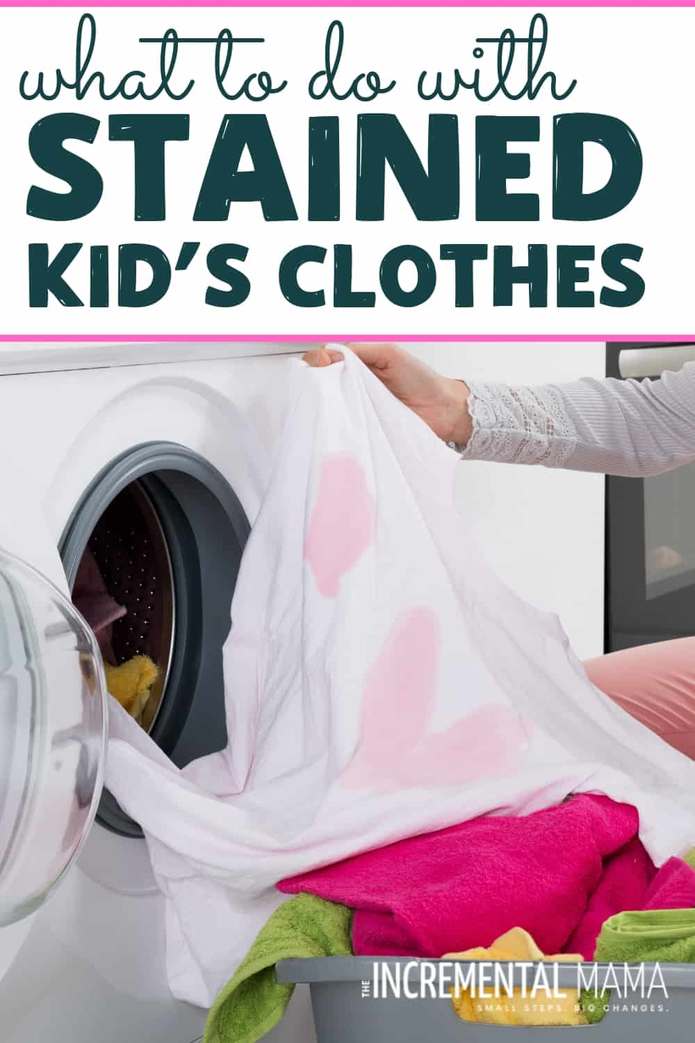 If you've got kids, you've got piles of stained kid's clothes. But with this easy DIY hack with some RIT dye, you can save money and breathe new life into your kid's clothes! #stainedkidsclothes #upcyclestainedclothes