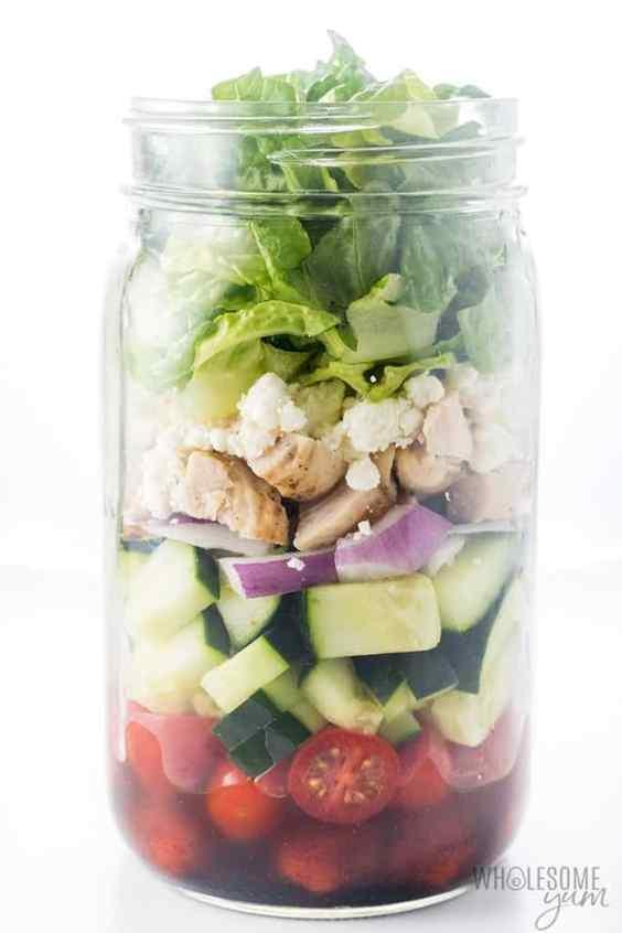 low carb greek mason jar salad