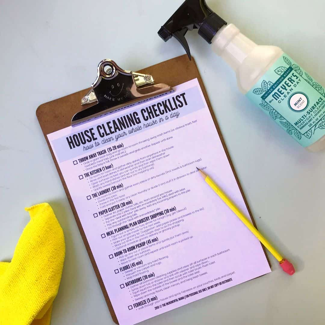 my house is a disgusting mess - cleaning checklist