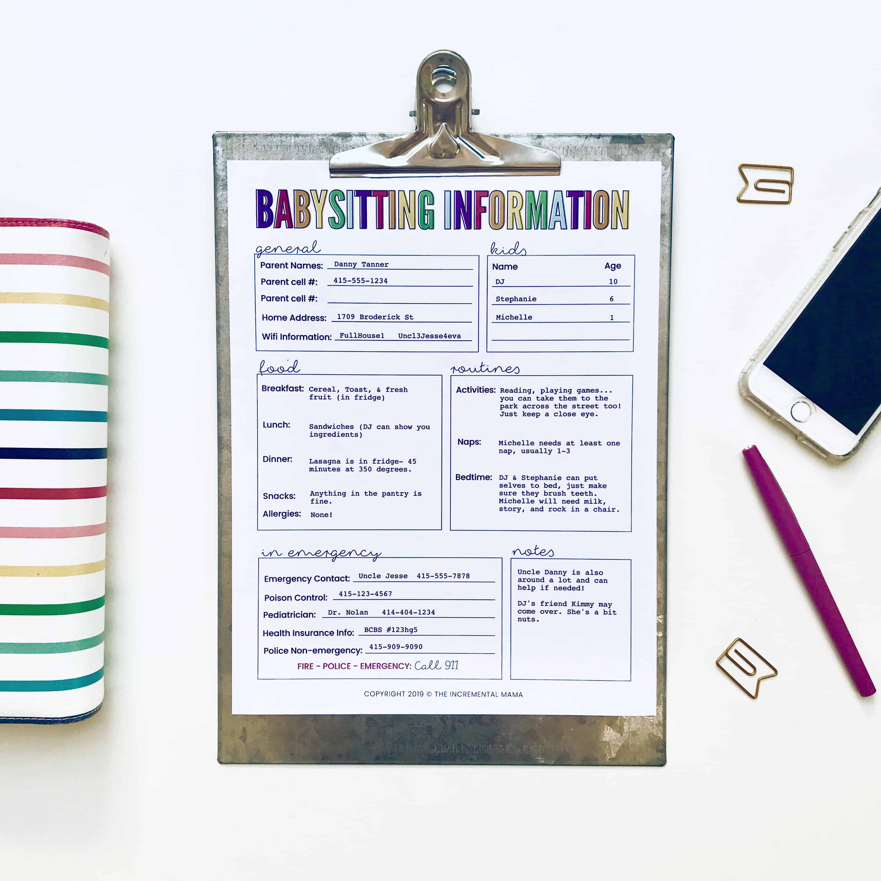 editable babysitting information printable