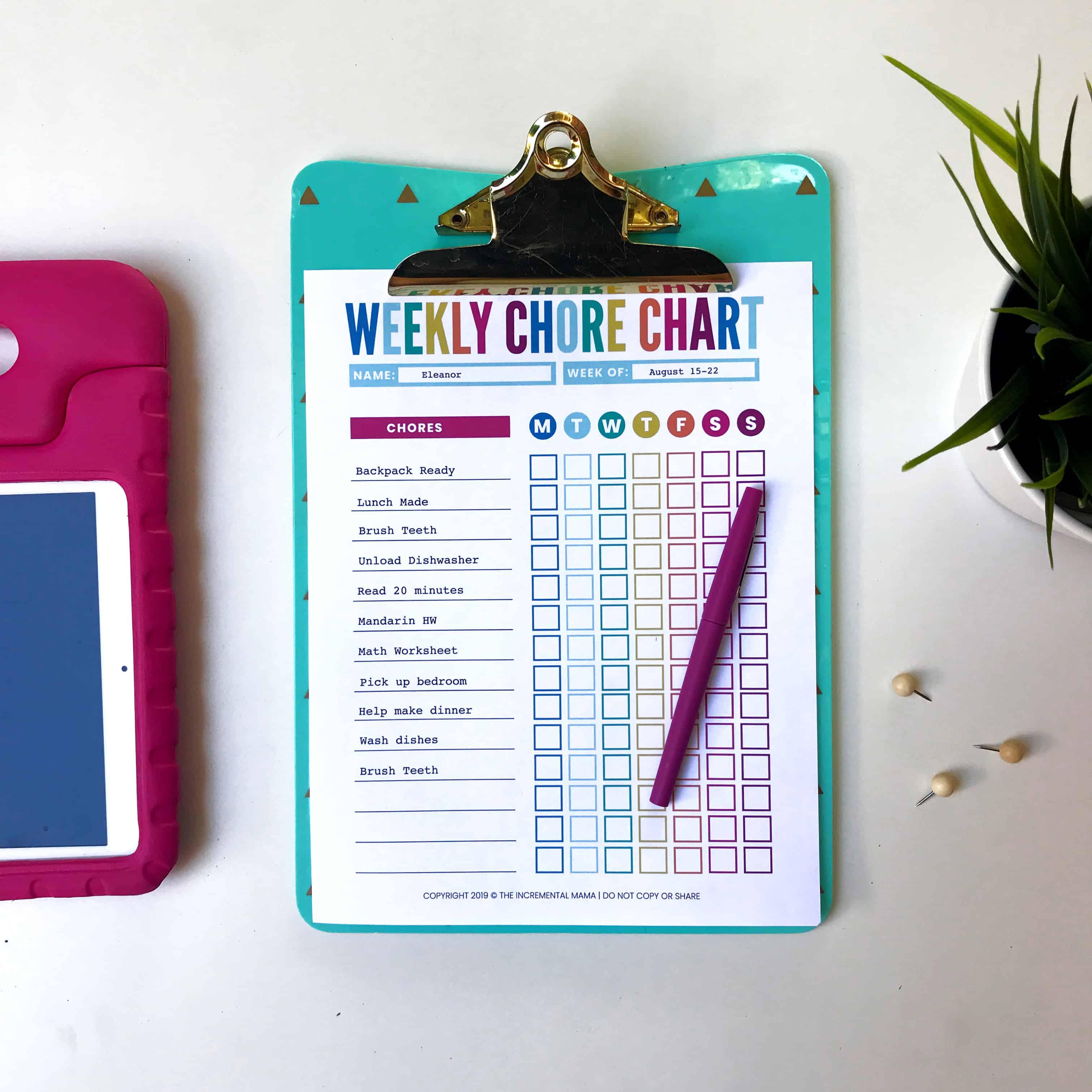editable chore chart